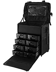 OrangeA 2 in 1 Makeup Case Black Nylon Makeup Case Professional Makeup Artist Rolling Trolley with Multiple Compartments...