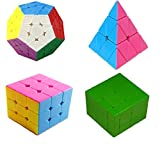 Stickerless Cube Puzzle Set Collection Pyramid Cube Megaminx Cube Mirror Cube 3x3 Speed Cube 3x3 with Bonus of Cube Stand & Pouch by WiAllFun