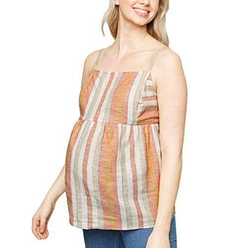 (Yliquor Womens Mama Fashion Comfortable Maternity Loose Blouse Tops Stripe Print Off Shoulder Backless Bow Camisole Vest Casual Nursing Breastfeeding Clothes)