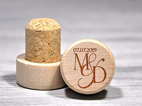 Custom Wine Stopper Personalized Party Favors Etched Wine Corks Housewarming Gift for Couple Engraved Wine Bottle Toppers Keepsake Gift Wine Gifts Personalized Wedding Gift Wine Stoppers Bulk (Wine Initial Stopper)