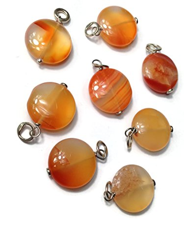 Large Smooth Puffed Coin Carnelian Gemstone Bead and Sterling Silver Add A Dangle Charm Round Jump Ring (Puffed Beads Coin)