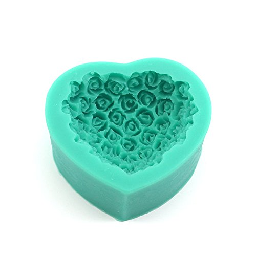 Soft Heart-shaped Roses Bouquets Sugar Cake Mold Safe Silicone Utensils Decorating Sipplies