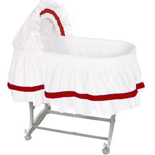 aBaby Modern Style Short Bassinet Skirt, Red, Small