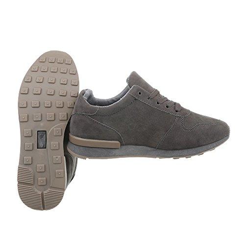 Gris Zapatillas Design Plano Zapatillas para Ital mujer N862j Low Zapatos w4q8IWW