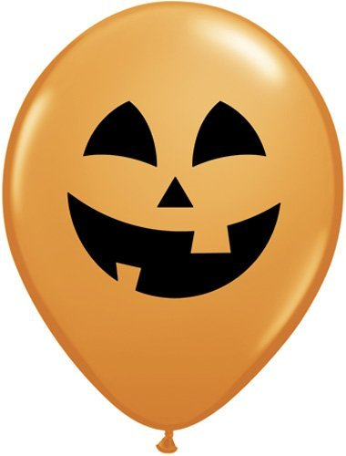 Qualatex 16 'Jolly Jack' Jack O'Lantern Halloween Latex Balloons - Orange by -