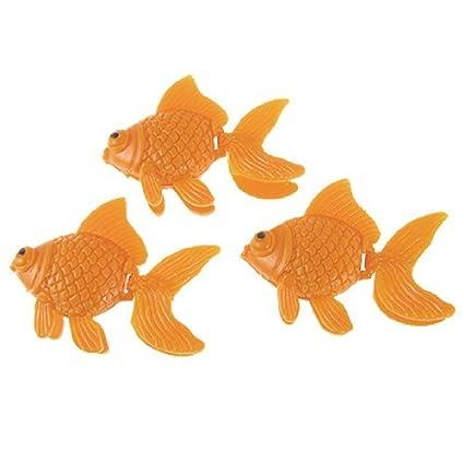 eDealMax 3-piezas de plástico tanque de pescado simulado Decoración Conjunto, Naranja