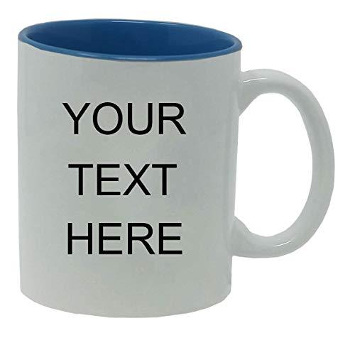 Personalized Add Your Custom Text White Ceramic 11 Oz Coffee Mug Customizable, (Light Blue)