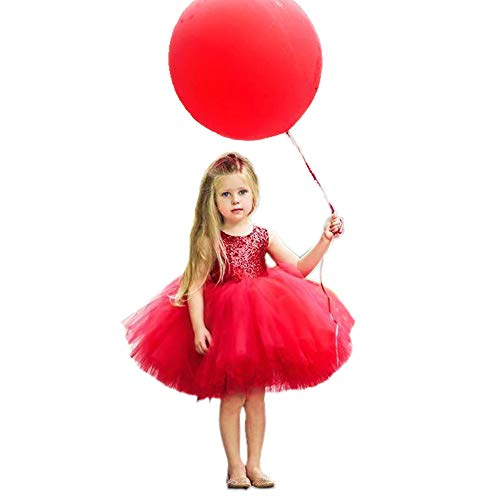 Toddler Kids Baby Girls Dress Sleeveless Sequins Bow-Knot Party Wedding Prom Princess Lace Tutu Tulle Outfits (3 T, Red)
