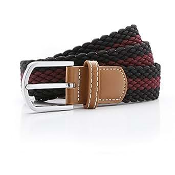 Asquith & Fox Mens Two Color Stripe Braid Stretch Belt (One Size) (Black/Burgundy)