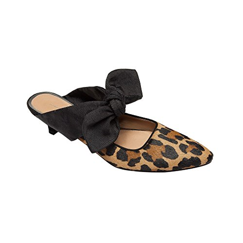 New Leopard Adorned Suede Women's Heel Hair Bow Spring Linea Handcrafted Leather Calf Mule Crissy Kitten Printed Paolo 7qpxwvB