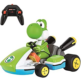Carrera RC 370162108X Official Licensed Mario Kart Yoshi Race Kart 1:16 Scale 2.4 GHz Splash Proof Remote Control Car Vehicle with Sound and Body Tilting Action - Rechargeable Battery - Kid Toys