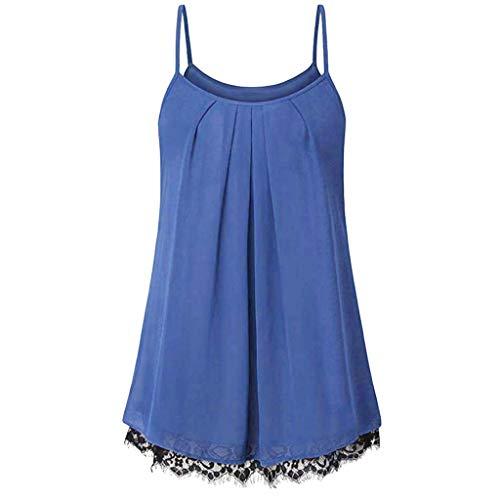 Sunhusing Women Summer Stylish Sexy Camisole Tops Casual Sleeveless Vest Lace Hem Stitching Crop Shirt Blue