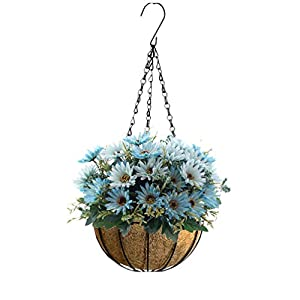 Mynse Hanging Basket False Flower China Aster for Home Office Balcony Christmas Decoration Blue Artificial Daisy Flowers Hanging Flowerpot (Big Basket) 4