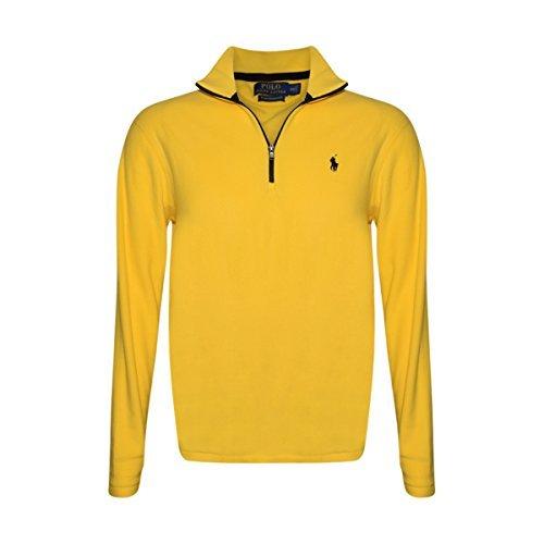 RALPH LAUREN Polo Mens 1/2 Zip Mock Neck Fleece Sweater (Racing Yellow, - Neck 1/2 Mock Zip