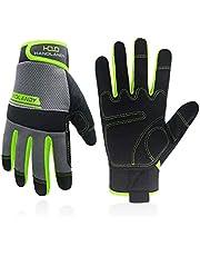 HANDLANDY Utility Werkhandschoenen Heren & Vrouwen, Veiligheid Mechanic Werkhandschoenen Touchscreen, Flexibele Ademende Yard Handschoenen