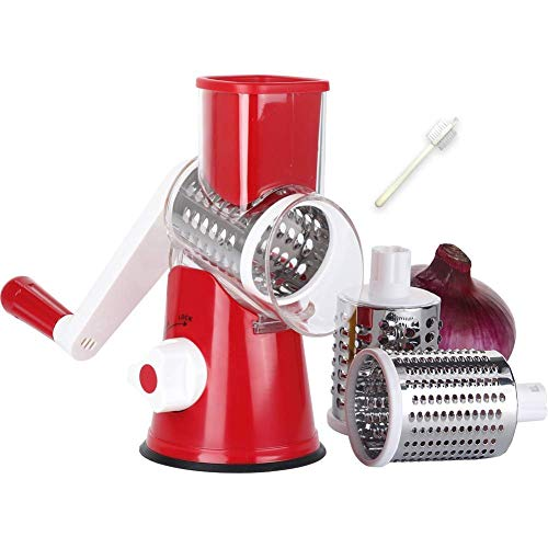 Denhug Salad Maker - Vegetable Mandoline Slicer, Zacfton Vegetable Fruit Cutter Cheese Shredder Rotary Drum Grater with 3 Stainless Steel Rotary Blades and Suction Cup Feet (RED) by Denhug