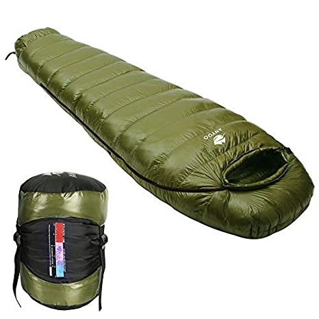 Anyoo Saco de Dormir Mummy Goose Down Ultralight Portable 3 Season para mochileros Senderismo Camping en Interiores y Exteriores para Adultos