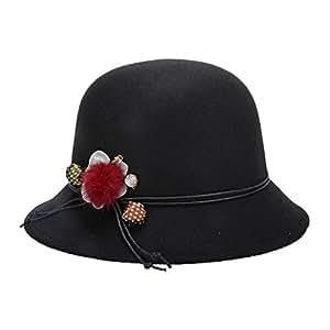 Dosige Mujeres Fiesta Retro Bowler Sombrero de Fedora Bowler Caps Sombrero Hongo Gorra Bombín con Visera Curvada Bowler Hat (Schwarz)