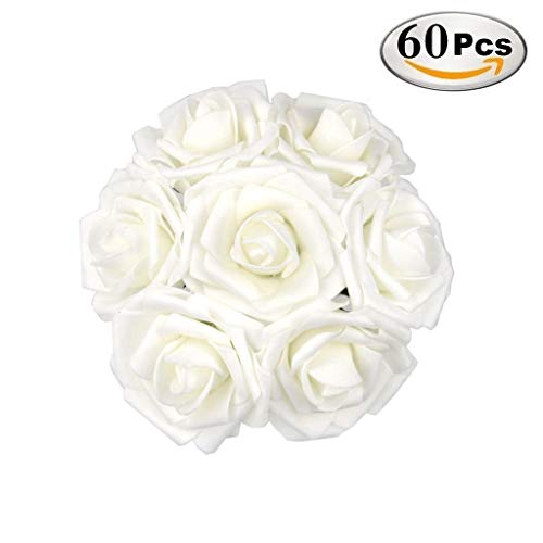 DerBlue 60pcs Artificial Roses Flowers Real Looking Fake Roses Artificial Foam Roses Decoration DIY Wedding Bouquets Centerpieces,Arrangements Party Baby Shower Home Decorations (White) ()