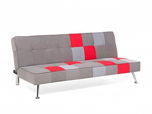 Divano Letto Patchwork : Divano letto patchwork grigio e rosso imbottito in tessuto