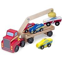 Melissa & Doug Magnetic Car Loader Wooden Toy Set With 4...