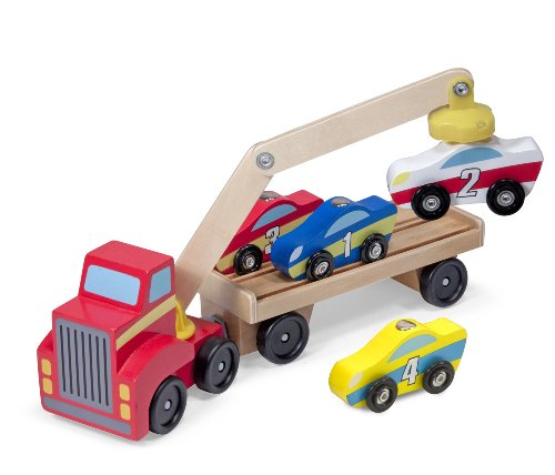 Melissa & Doug Magnetic Car Loader Wooden Toy Set With 4 Cars and 1 Semi-Trailer Truck (Melissa And Doug Car Carrier)