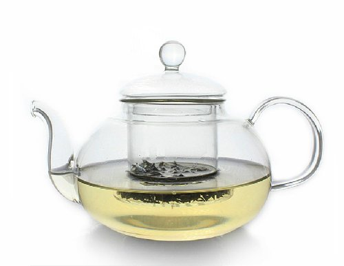 Moyishi Perfect Clear Heat Resistant Borosilicate Glass Teapot & Infuser for loose tea or display tea (pure glass, no metal or plastic parts)