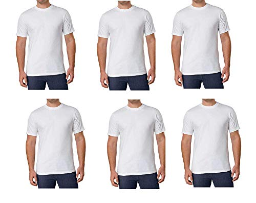 Kirkland Men's Crew Neck White T-Shirts 100% Combed Heavyweight Cotton (Pack of 6) (White, XX-Large)