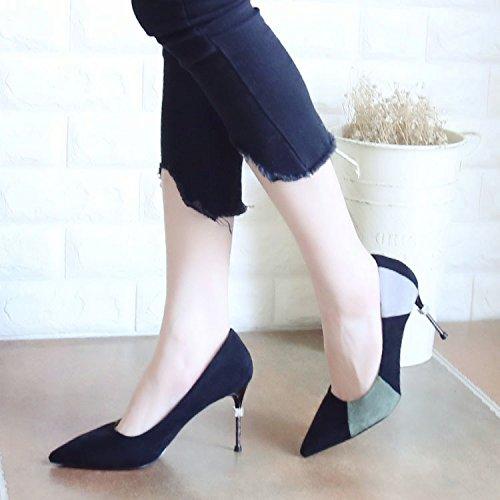 Europeo el de Punta de Partido único YMFIE de Zapatos Verano para del Agua Estilo y Superficial Moda Zapatos tacón de Broca con Verano Colorear Zapatos green Banquete el qCxxtwXf