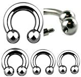 16G Externally Threaded Surgical Steel Horseshoe Ball - 5/8 - Sold as a Pair