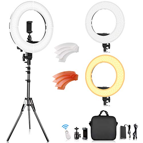 Ring Light, FOSITAN 14 inch LED Ring Light with Stand 5500K/3200K Dimmable LED Circle Lighting Kit with Bag for Camera…