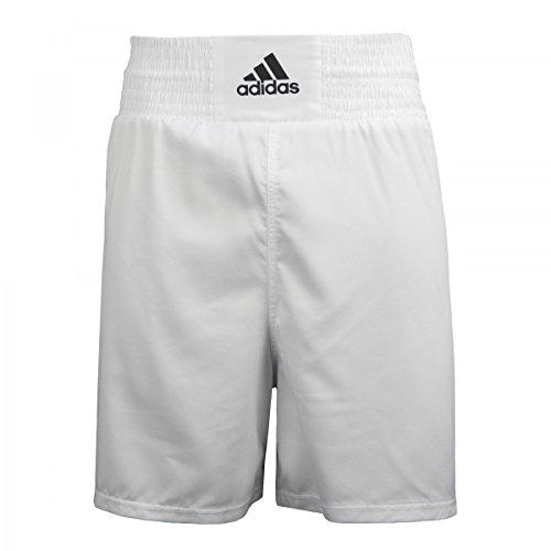 adidas White Diamond Poly Boxing Trunks, White/Black, Large