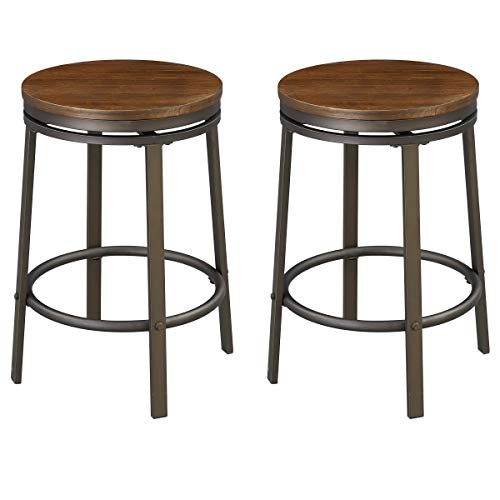 - O&K FURNITURE 24-Inch Backless Swivel Bar Stool, Industrial Kitchen Counter Height Stool Chairs with Wooden Seat-Pub Height, Dark Brown, Set of 2