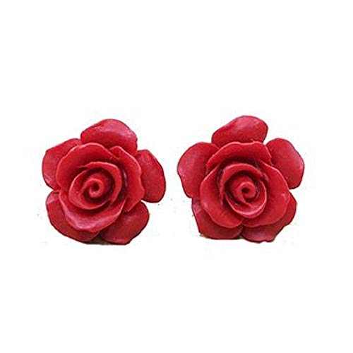 i&D Jewelry Floral Earrings 3D Carved Rose Flower Stud Earrings for Women for Teen for Mother Resin Silver Plated Brass (Multiple Colors Available)