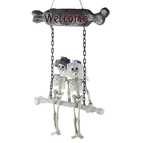 SM SunniMix Halloween Hanging Ghost Bride Groom Skeleton Welcome Sign -