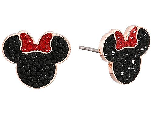 (Swarovski MICKEY & MINNIE PIERCED EARRINGS, BLACK, ROSE GOLD PLATING)