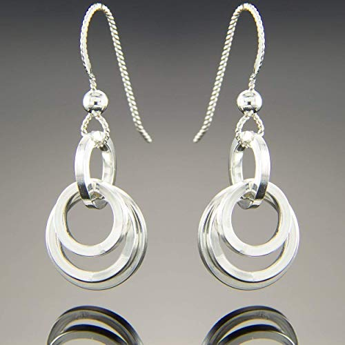 - Dainty Minimalist Open Multi Circle Dangle Earrings in Argentium Sterling Silver (low tarnish)