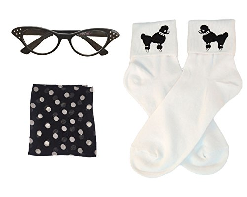 Hip Hop 50's Shop Adult 3 Piece Accessories - Adult size Black Polka Dot Glasses, Socks and Scarf