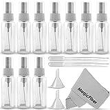 (10 Pack) Empty 20mL (0.66oz.) Clear Plastic Fine Mist Spray Bottle (Less Than 1oz.) + MagicFiber Microfiber Cleaning Cloth