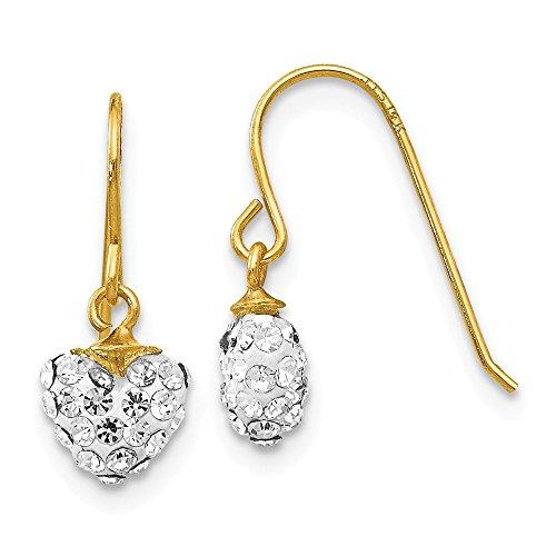 14k Yellow Gold Crystal Heart Drop Dangle Chandelier Earrings Love Fine Jewelry Gifts For Women For Her ()