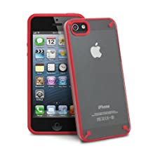 iPhone SE Case, GreatShield Radiant Series Ultra Slim Fit Case for Apple iPhone SE / 5S / 5 (Clear / Red)