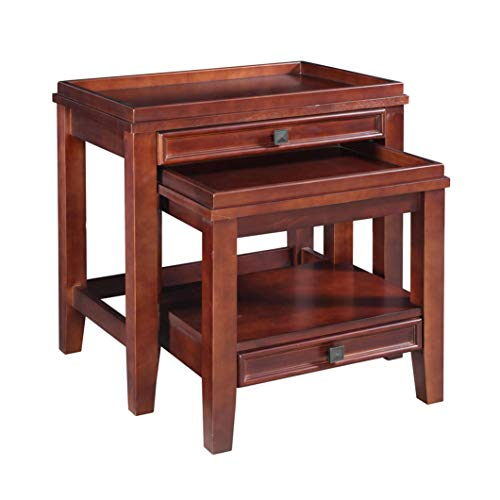Wooden Nesting Tables with Storage Drawers, Set of 2, Durable Construction, Space Saving Design, Practical, Perfect for Living Room, Family Room, Home Furniture, Cherry Finish