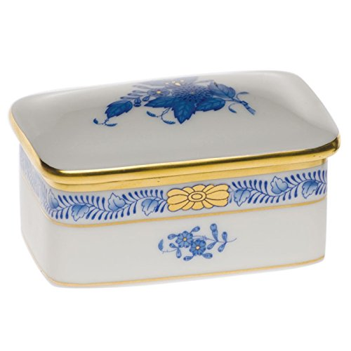 Herend Chinese Bouquet Blue Covered Box