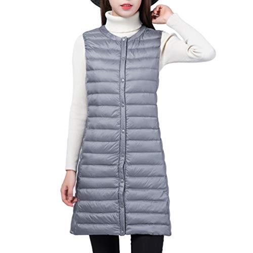 Mi Veste Parka Manche Femme Manteau Button Gris Décontracté Zengbang Avec Blouson longue Sans Gilet Chaude qEU4wwC