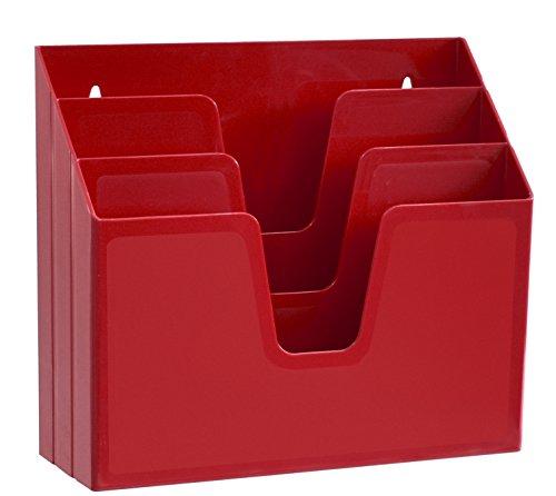 Acrimet Horizontal Triple File Folder Organizer (Solid Red Color)