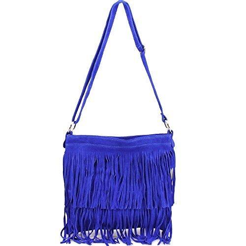 Leather Real Bag Blue Body Suede Black Cross Fringe Tassel Royal qwxvUC5w