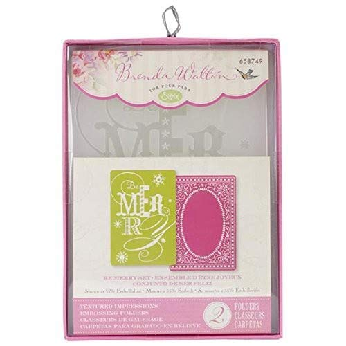 Sizzix Textured Impressions A6 Embossing Folders 2//Pkg-Be Merry