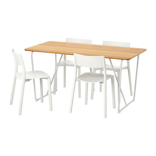 Ikea Table and 4 chairs, white bamboo, white 16204.20517.3022