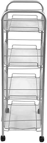 Mind Reader 4 Tier Mobile Office Cart, All-Purpose Utility Cart, Silver