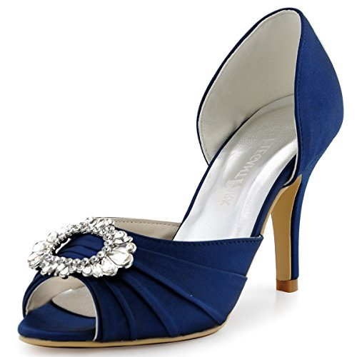 ElegantPark A2136 Women High Heel Pumps Peep Toe Brooch Ruched Satin Evening Prom Wedding Shoes Navy Blue US 9